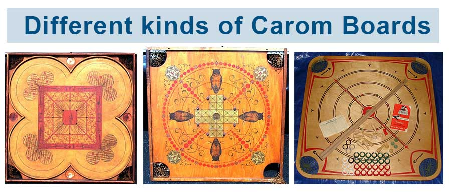 Different kinds of carom boards