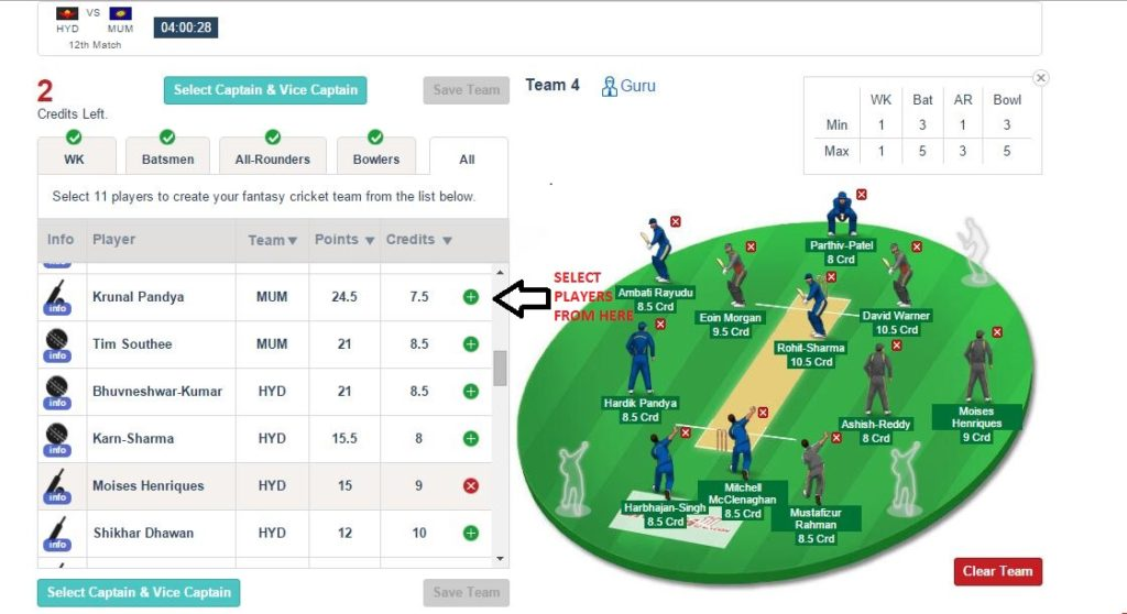 Dream11 selecting players