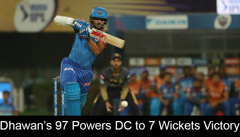 Dhawan's 97 Powers DC to 7 Wickets Victory