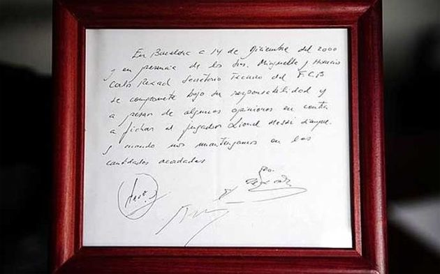 piece of napkin that started Lionel Messi's Career