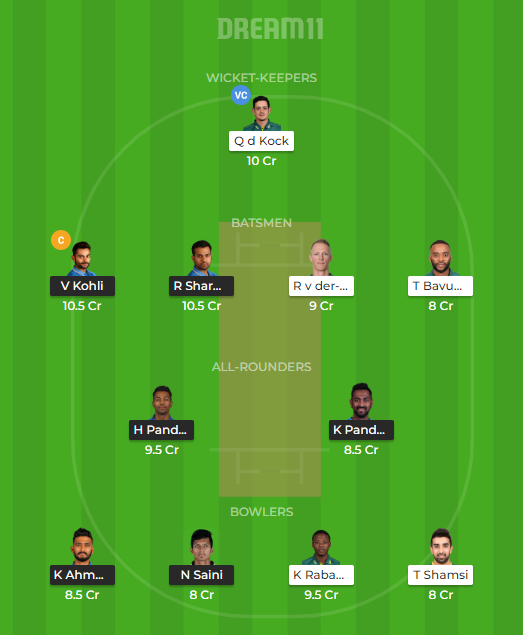 IND vs SA 1st T20I Dream11