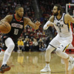 Injury plagued Houston Rockets edge past the Utah Jazz 126-117 as Eric Gordon scores career high 50 points