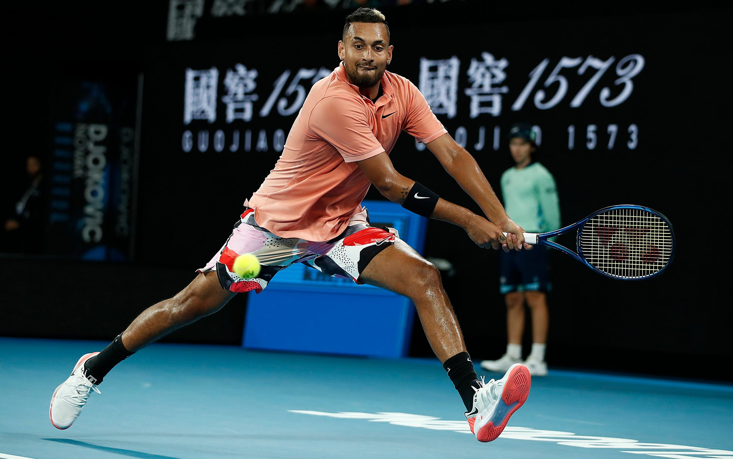NBA superstar D'Angelo Russell lets Nick Kyrgios know he's watching him at the Australian Open
